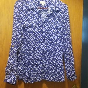 Charter Club  Luxury, blue and white, linen blouse